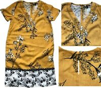 NEXT Summer OCHRE FLORAL Linen Blend Embroidery T-Shirt Shift Dress Tunic 8 -22