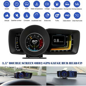 3.5'' Double Screen OBD2+GPS Gauge HUD Head-Up LCD Speedometer Turbo RPM Alarm