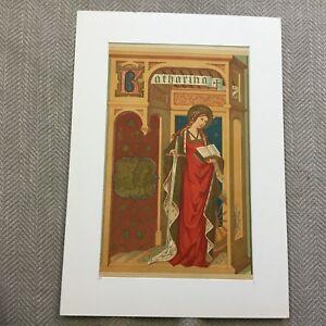 1871 Antique Religious Print Icon St Catherine of Sienna Illuminated Gothic Art