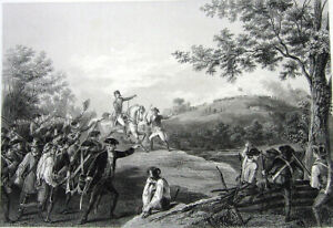 Revolutionary War BATTLE OF BENNINGTON Saratoga Campaign ~ 1859 Engraving Print