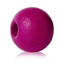 500 Stück Holzperlen Rund Pink 8 mm Perlen Schnullerketten Basteln Holz Loch Diy
