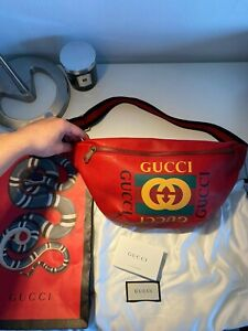 Gucci Red Logo Large Leather Belt Bag Bum Bag Waistbag AUTHENTIC