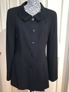 CHANEL BOUTIQUE 40 8 Long Black Wool Jacket Blazer Point Collar 98A Classic