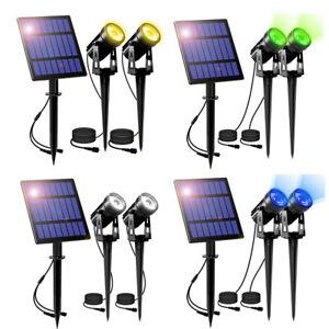 2er 4er LED Solarstrahler Solarleuchte Solarlampe Gartenstrahler Spot Light