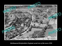 OLD LARGE HISTORIC PHOTO OF BERKHAMSTED ENGLAND, AERIAL VIEW OF TOWN c1920