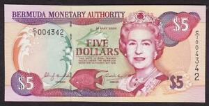 BANK OF BERMUDA 5 DOLLAR BANKNOTE 2000 MINT UNCIRCULATED QUEEN ELIZABETH