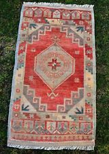 Low Pile Small Oushak Rugs, Vintage Oriental Hand Knotted Turkish Rug, 1'8x3'0