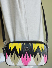 Coach 53198 SV/Hawk Feather Black Yellow Pink Cream Tan Leather Crossbody NWT