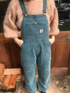 Vintage RARE teal green blue Carhartt Overall bibs womens S/M