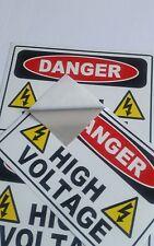 "Danger High Voltage Electric  Warning Building Sign Sticker (set of 3) 6""x4"""