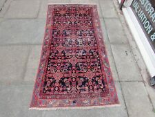 Shabby Chic Worn Vintage Hand Made Traditional Blue Wool Long Rug 190x93cm