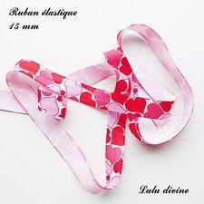 Ruban élastique blanc Coeur parme rose rouge de 15 mm vendu au mètre