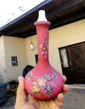 S&W ART GLASS antique BARBER BOTTLE Satin Enameled