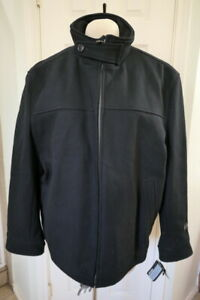 NEW Murano Men's Black Wool Cashmere Blend Lined Coat Jacket Full Zip XL