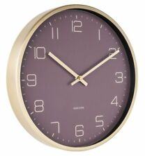 Karlsson ELEGANCE WALL CLOCK GOLD Case PURPLE Face 30cm diam