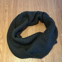 Ladies Army Green Ribbed Knitted Wool Mix Neutral Tube Snood Scarf Large