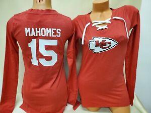 01027 Womens Kansas City Chiefs PATRICK MAHOMES Football Long Sleeve SHIRT Red