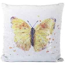 Lesser Pavey Sequin Cushion - 40cm Stylish Yellow Orange Butterfly