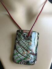 Fashion 100% Handmade Italian Lampwork Murano Glass Pendant rectangle Necklace