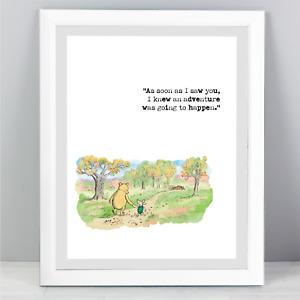 A4 Winnie The Pooh Quote Print Unframed Wall Art Minimalist Adventure