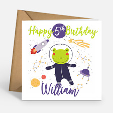 Personalised Cute Space Frog Boys Custom Name & Age Happy Birthday Cards