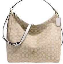 NWT Coach 58327 Celeste Convertible Hobo Signature handbag Light Khaki / Chalk