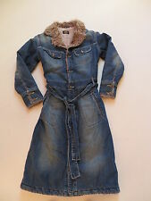 LEE Jacke, langer Jeans- Mantel Gr. L, Vintage Denim, warm mit Fell gefüttert !