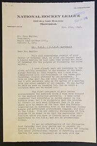 1948 NHL Hockey Letters Marlboros Conn Smythe Signed Clarence Campbell Autograph