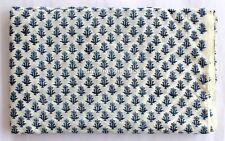 5 Yard indian Hand Block Print 100% Cotton Blue Design Dabu fabric M#348