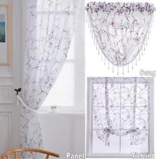 CHERRY BLOSSOM Floral Print Sheer Voile Curtain Panel Beaded Swags Or Tie Blind