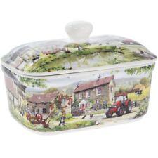 Farmyard Tractor Scene Design Ceramic Butter Dish