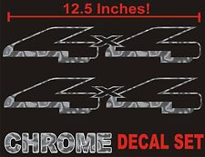 4x4 Truck Bed Decals, CHROME SILVER (Set) for Ford F-150 and Super Duty