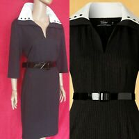 1950s Style Black Pinstripe Allie Pencil Dress Vintage Diva by Top Vintage XXL