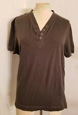 Club Monaco Tshirt Top Sz L Snap Button Cotton Cashmere Army Green Womens