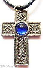 Blue - English Pewter Celtic Cross Interlaced Pendant
