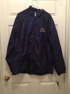 NWT Baltimore Ravens NFL Reebok Full Zip Lightweight Trainer Jacket XL
