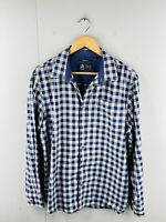 Swandri Men's Long Sleeve Casual Dress Button Up Shirt Size L Blue Check