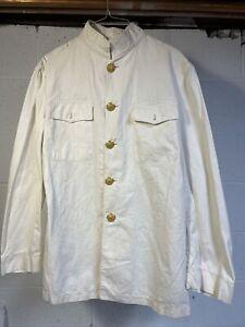 Vtg USMC MARINE Corp OFFICERS SUMMER White Dress UNIFORM Jacket Tunic Cotton