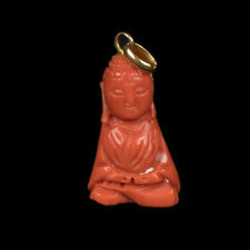 China 20. JH. corales remolques-a Chinese Deep coral & 18k Gold Buda pendant