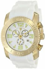 Swiss Legend Men's Gold Steel Case White Rubber Strap Quartz Watch 10067-YG-02