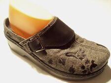 Klogs Austin Gray Fabric Black Floral Platform Clogs Mules Heels Shoes Size  9 10