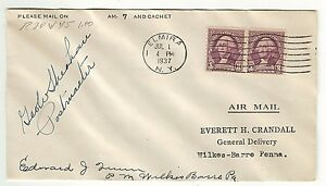 AIR MAIL COVER ELMIRA NEW YORK - WILKES-BARRE- 1937 - SIGNED BY POSTMASTERS