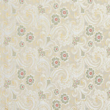 E391 Gold White Red Green Paisley Floral Brocade Upholstery Fabric By The Yard