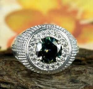 Spectacular Men's Engagement Solitaire Halo Ring 14K White Gold 2.01 Ct Emerald