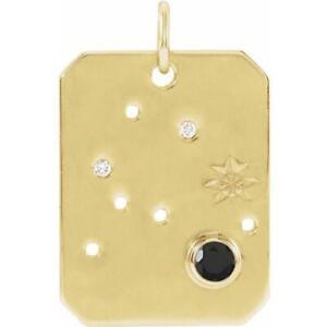 14k Yellow Gold Aquarius Zodiac Constellation Black Spinel and Diamond Pendant