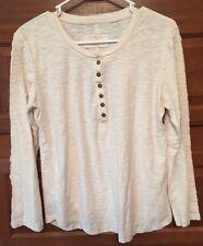 NORTHCREST Cream w/ Embroidery Long Sleeve Shirt M