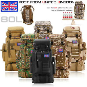 80L Military Tactical Army Backpack Rucksack Hiking Camping Trekking Bag outdoor