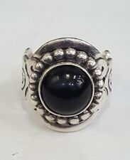 Sterling Silver Size 7.75 Ati Mexico Round Onyx Ring