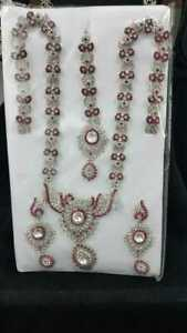 Silver Pink Bollywood Indian Necklace Earrings Tikka Jewellery Set Wedding