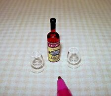 Miniature Blackberry Brandy Bottle, Mouthblown Glasses (A): DOLLHOUSE 1/12 Scale